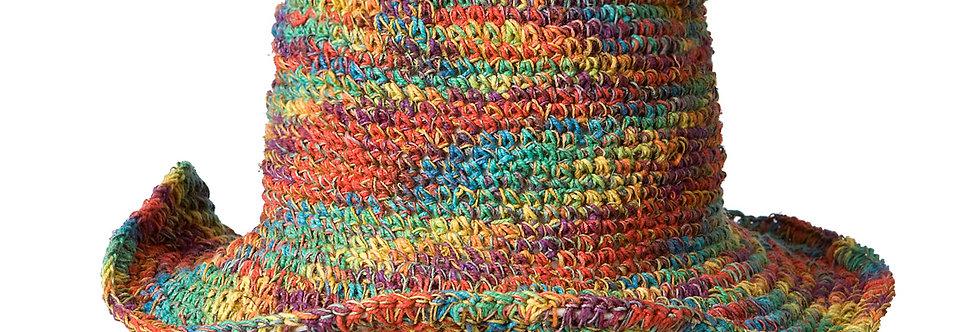 Hemp Cotton Wire Rim Hat - Tie Dye Rainbow