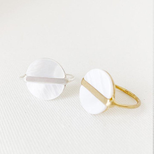 2 round white resin rings - 1 with silver stripe, 1 with gold