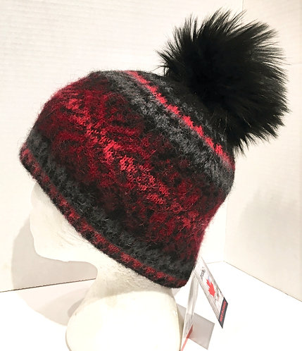 Black wool toque with pink & red pattern & black pompom