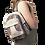 Female modeling Hemp Cotton Mini Knapsack-outer zip pouch-main zip pouch-adjustable strap multi color stripes
