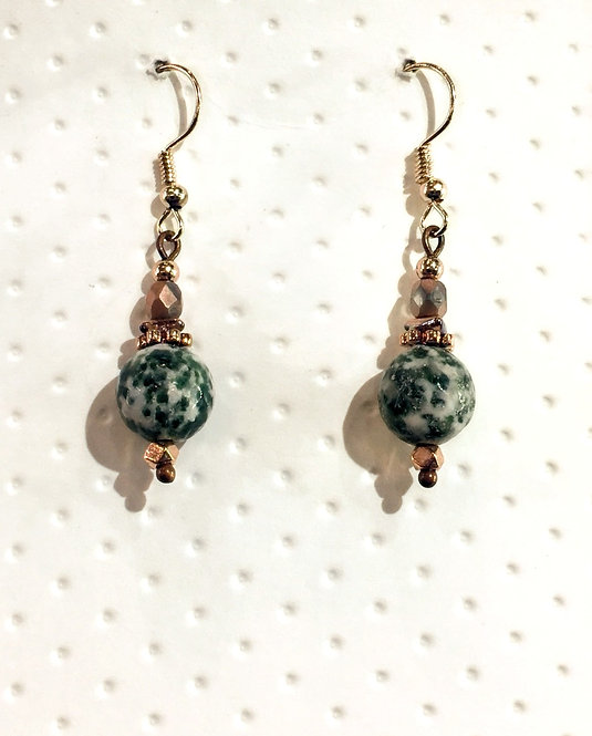 Rose gold earrings with 10mm green spot stones