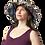 Female modeling hemp Cotton Wire Rim Fringe Hat - multi colored Patchwork