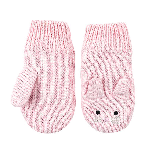 pair of pale pink knit baby mitts with bunny ears, eyes & whiskers knit into the backs