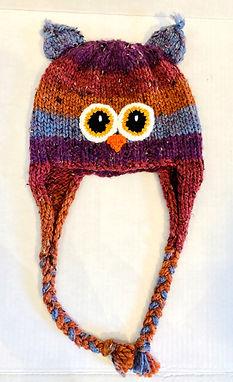 Rust Brown &Purple Chunky Owl Hat
