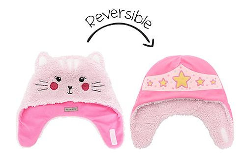 Light & dark pink reversible fleece/sherpa hats-cat face on sherpa side, superhero stars on fleece side