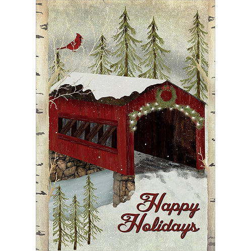 Card with snowy red wooden covered bridge in a forest, text 'Happy Holidays'