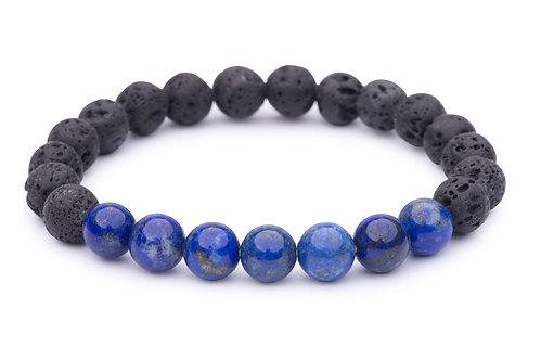 Lava Bead Stretch Bracelet with lapis lazuli beads