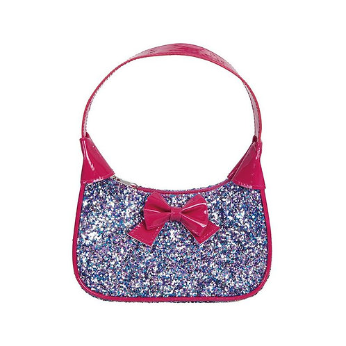 Small hot pink plastic purse with short strap & pink pink bow-covered in sparkling silver rainbow glitter