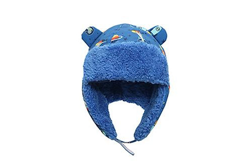Front view blue water repellent trapper hat with dinos print & blue sherpa lining with earflaps down