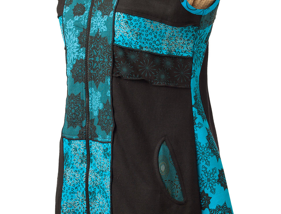 Side view Ark Fair Trade long black zippered vest with side pockets-black with printed teal stripes