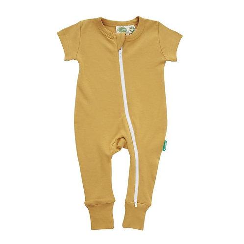 one piece short sleeve baby sleeper ochre-zipper from neck to ankle of 1 leg