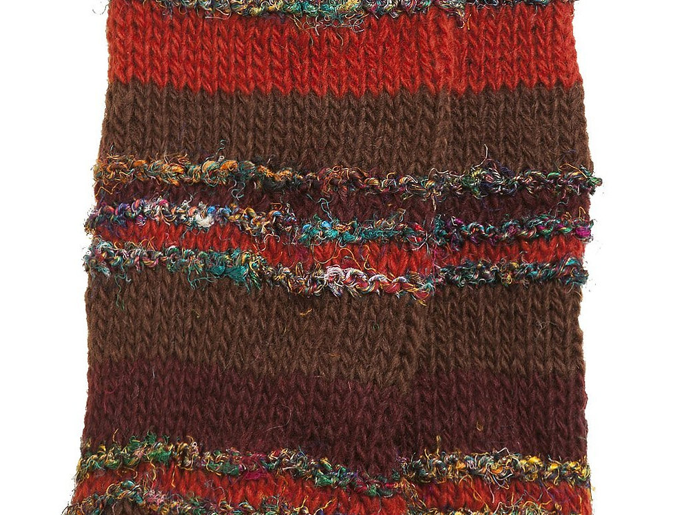 Knit wool knee high leg warmers, rust & brown stripes alternating with multi-colored silk stripes