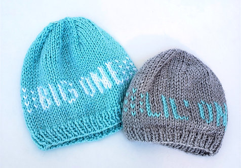 2 Hand Knit Siblings Infant Hats-1 aqua with white BIG ONE knit into it, the other gray with aqua lettering LIL ONE