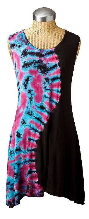 Sleeveless round neck shift knee length hi-low hem 2 panel S curve solid black one side-tie-dye pink&blue the other side