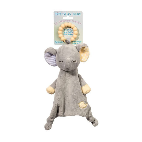 Soft gray blanket toy in shape of elephant with yellow plastic teething ring attached to head