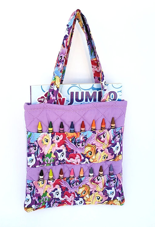 2-handle Crayon Bag-mauve-2  colorful creatures print fabric panels hold 8 crayons each on front-coloring book inside