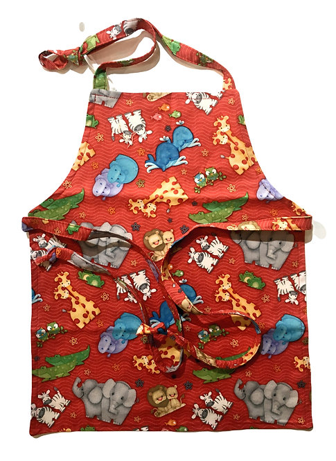 Child's apron red with colorful pairs of animals of all kinds print