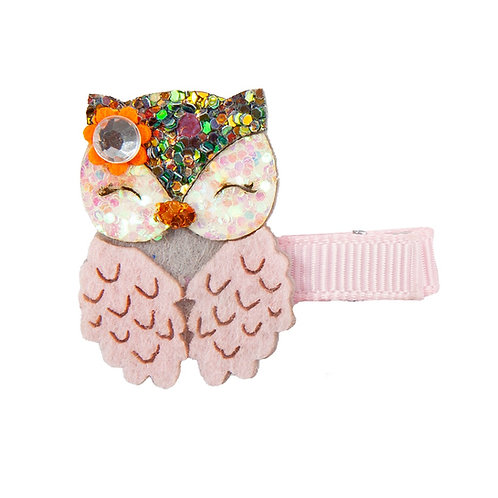 Pink & gold owl hair clip