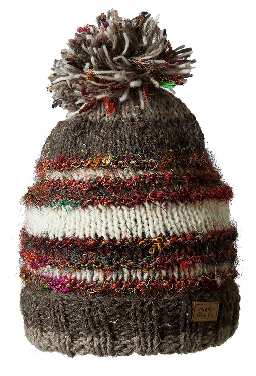 Horizontal striped knit wool toque with pompom mixed shades of brown & white wool stripes & multi-colored silk stripes
