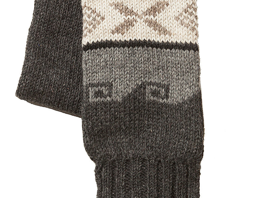 Knitted wool scarf-2-tone gray-off-white center with black moose-knotted fringe