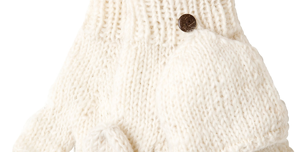 White cable knit glove with open fingertips & mitten-style cover that buttons over the exposed fingers