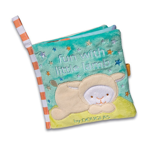 Soft activity book for babies 'Sleepy Little Lamb' by Douglas little lamb curled up on grass under blue sky