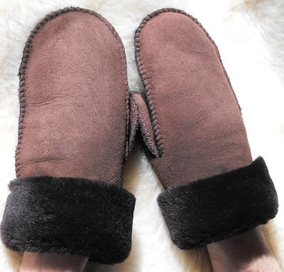 Brown Sheepskin Mitts for Grown-ups