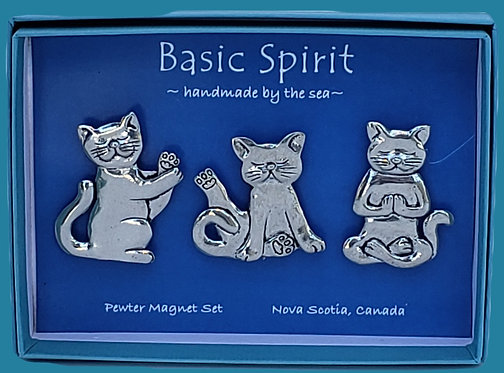 Yoga Cats Pewter Magnet Set
