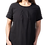 Woman modeling Olga Tunic Dress black with short sleeves round neck A-line front gathers at neck 2 outer pockets with ties