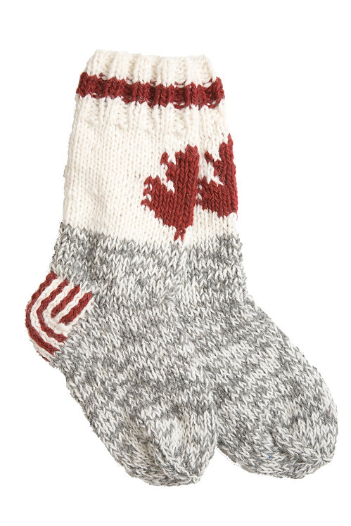 Knitted wool Maple Cabin Socks-gray foot with white ankle & red band-red maple leaf