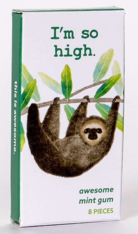 Blue Q gum box shows sloth hanging from tree branch, Box reads: I'm so High