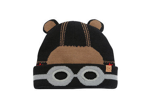 Front view of 2-tone brown knitted toque with bear face stitched onto front & little round ears on crown