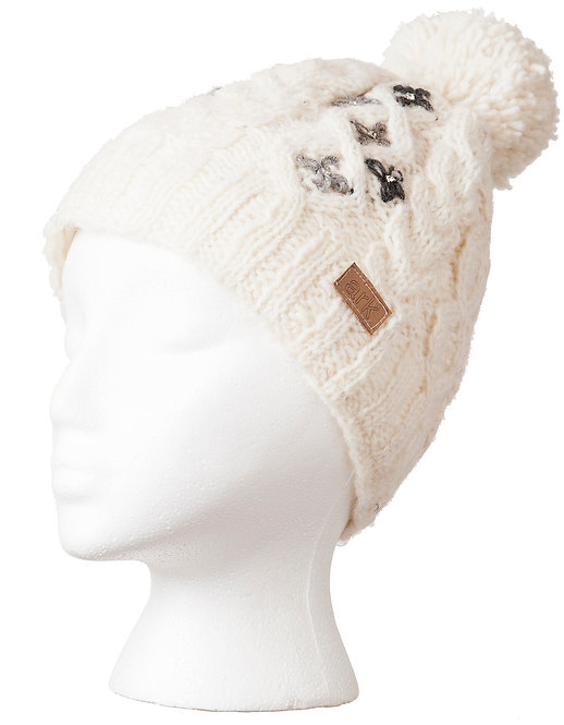 Natural white cable knit wool hat with pompom-tiny 4-petal flowers on one side in gray