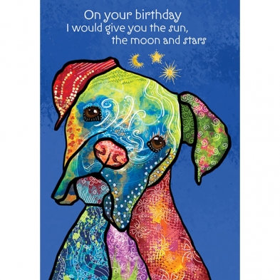 Front of card blue with multi colored boxer dog text 'I would give you the sun, the moon & the stars'