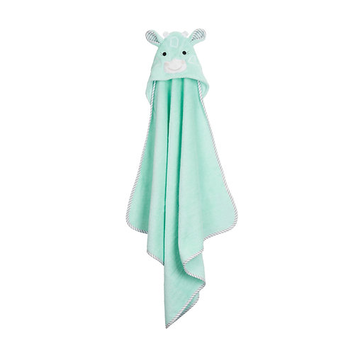 pale green hooded bath towel for babies with giraffe face on the hood hanging