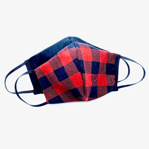 Hides in Hand Reversible & Reusable Protective Mask - Buffalo Plaid