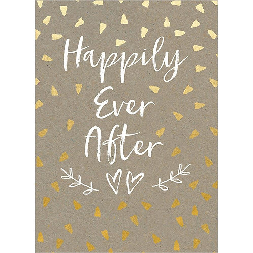 Front of kraft card-gold confetti-white text 'Happily Ever After'