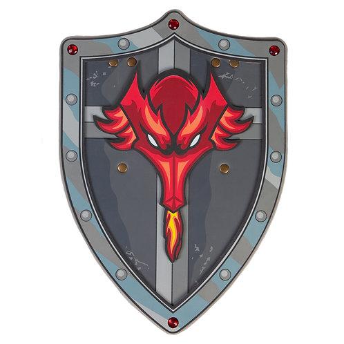 metallic gray hard foam shield with flame-breathing red dragon