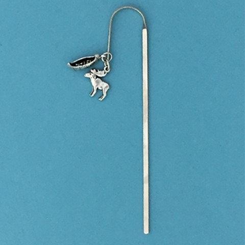 Slender pewter bookmark shaped like shepherd's hook with tiny canoe & moose charms