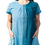 Model wearing dress short sleeves round neck A-line 2 pockets 3 panels of graduated shades of soft teal