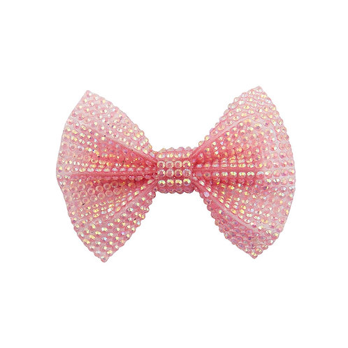 Sparkly pink bow shaped hair clip