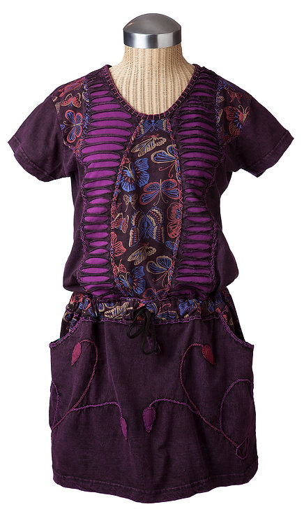 Butterfly Dress-short sleeve-round neck-drawstring waist-2 outer pockets-purple 2 ripped-torn panels & butterfly print center