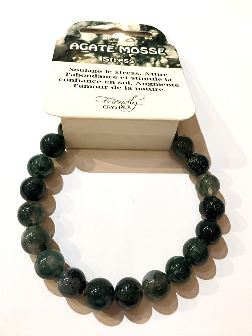 Close up of moss agate Natural Stone Bead Stretch Bracelet