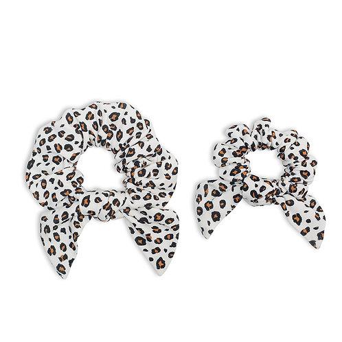 2 leopard print hair scrunchies