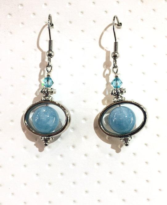 Pair of platinum-colored earrings with 10mm round aquamarine stones