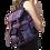 Female modeling Mandu Knapsack black woven purple Nepali print-wide adjustable straps-2 front pockets