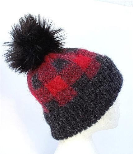Icelandic Wool Cuffed Toque - Buffalo Check with Pompom