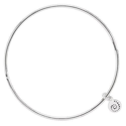Plain round silver bangle with tiny charm of stylized chameleon tail swirl