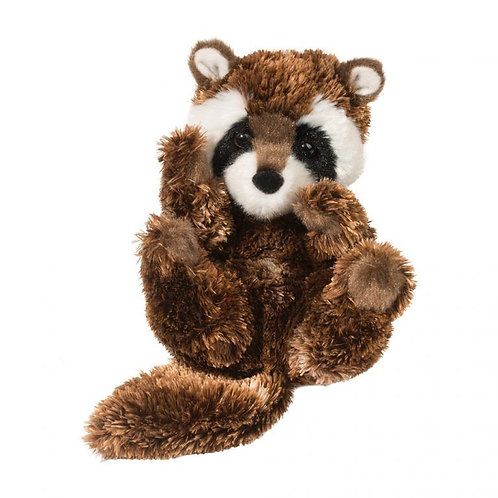 Small brown black and white baby raccoon stuffed plush toy