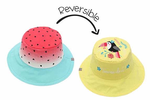 2 in 1 Watermelon / Toucan Reversible Baby & Kid Sun Hat